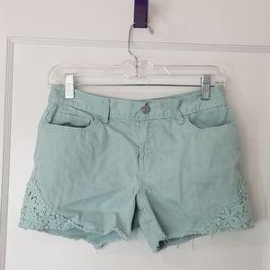 Size 16 Mint Old Navy Girls Shorts w/ Crochet Trim